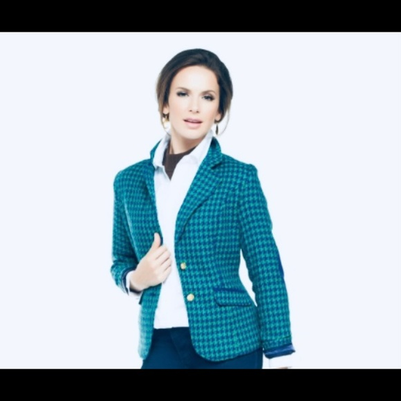 Joan Rivers green and purple houndstooth blazer 10